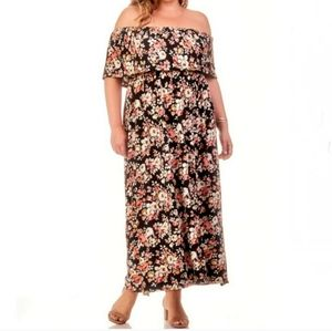 PLUS OFF THE SHOULDER MAXI DRESS